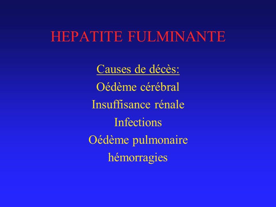 HEPATITE FULMINANTE Causes de décès: Oédème cérébral