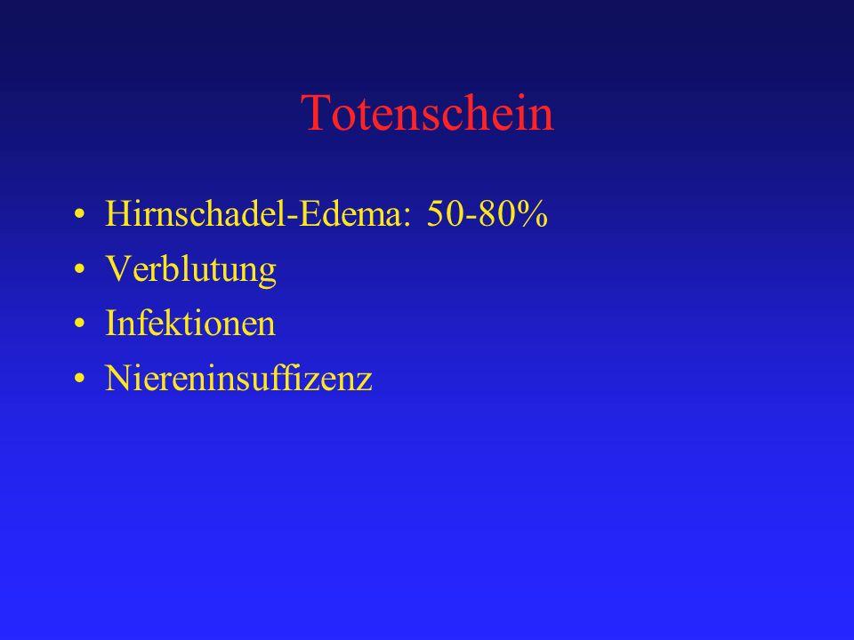 Totenschein Hirnschadel-Edema: 50-80% Verblutung Infektionen