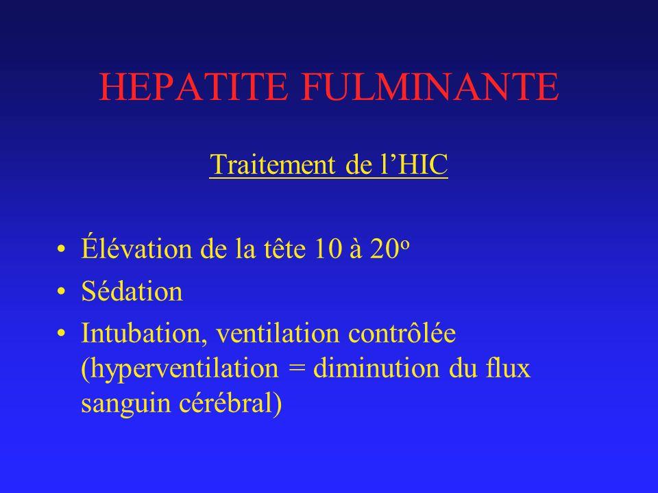 HEPATITE FULMINANTE Traitement de l'HIC Élévation de la tête 10 à 20o