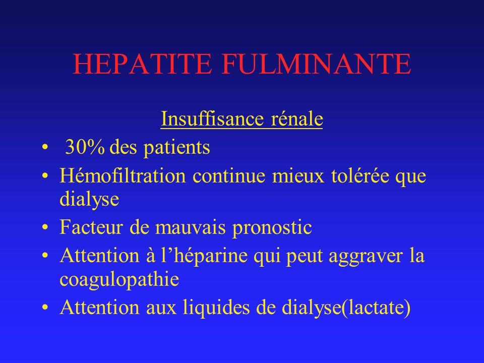 HEPATITE FULMINANTE Insuffisance rénale 30% des patients