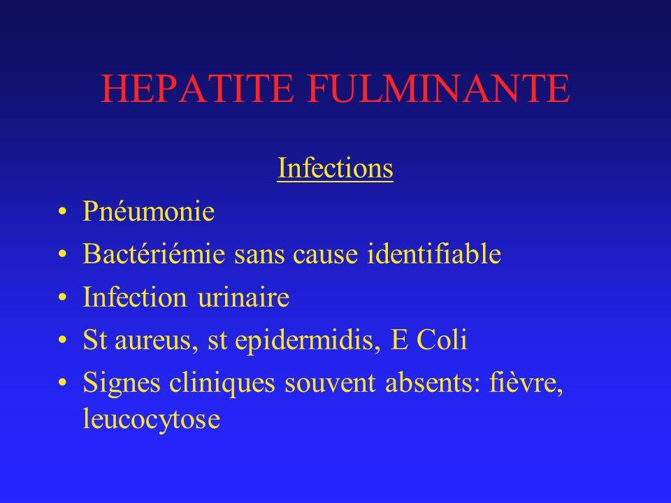 HEPATITE FULMINANTE Infections Pnéumonie