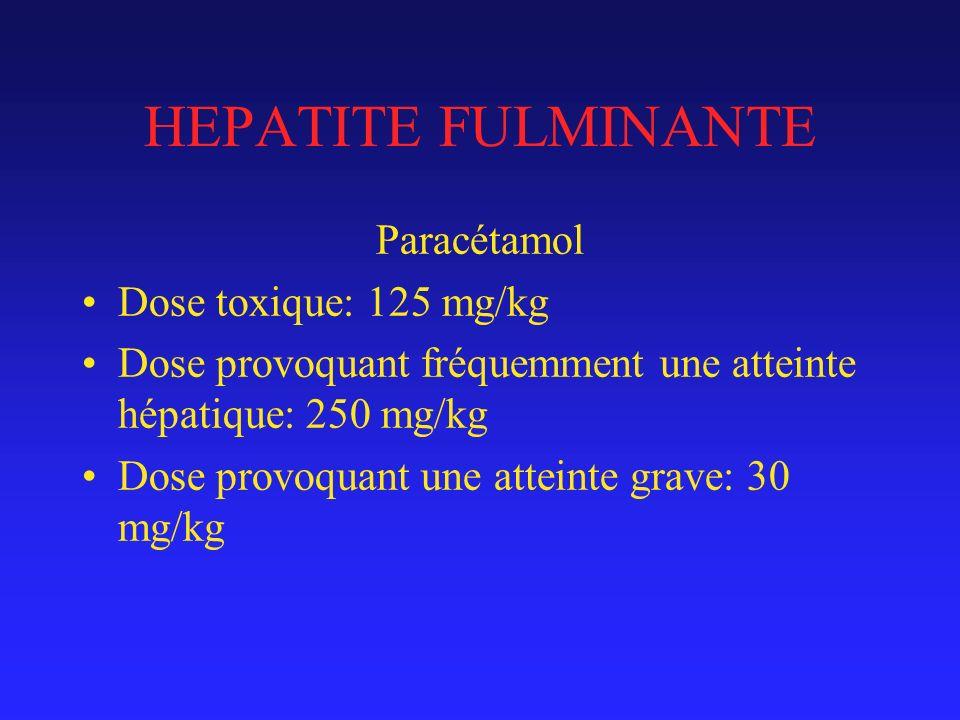 HEPATITE FULMINANTE Paracétamol Dose toxique: 125 mg/kg
