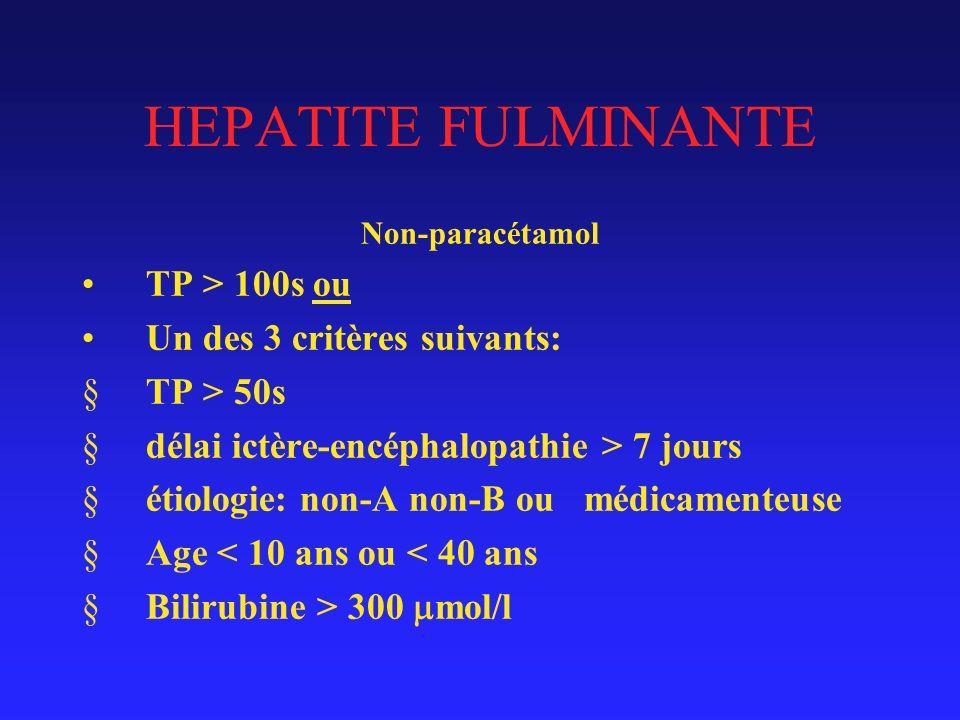 HEPATITE FULMINANTE TP > 100s ou Un des 3 critères suivants: