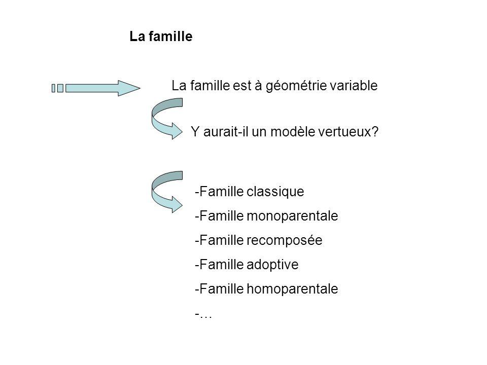 La famille La famille est à géométrie variable. Y aurait-il un modèle vertueux Famille classique.