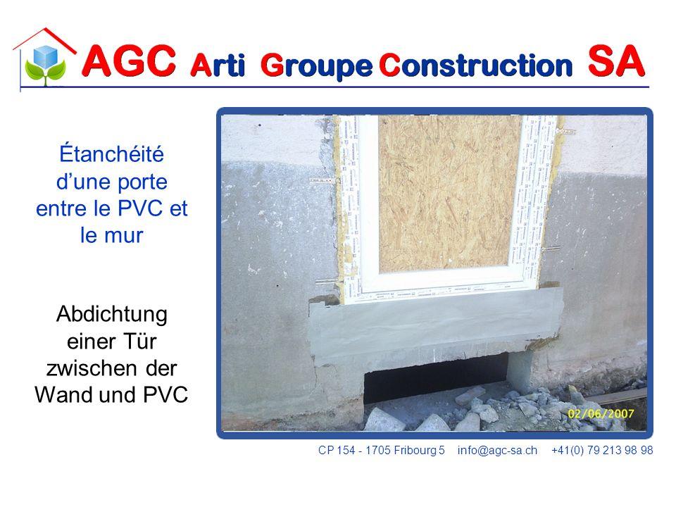Étanchéité d'une porte entre le PVC et le mur