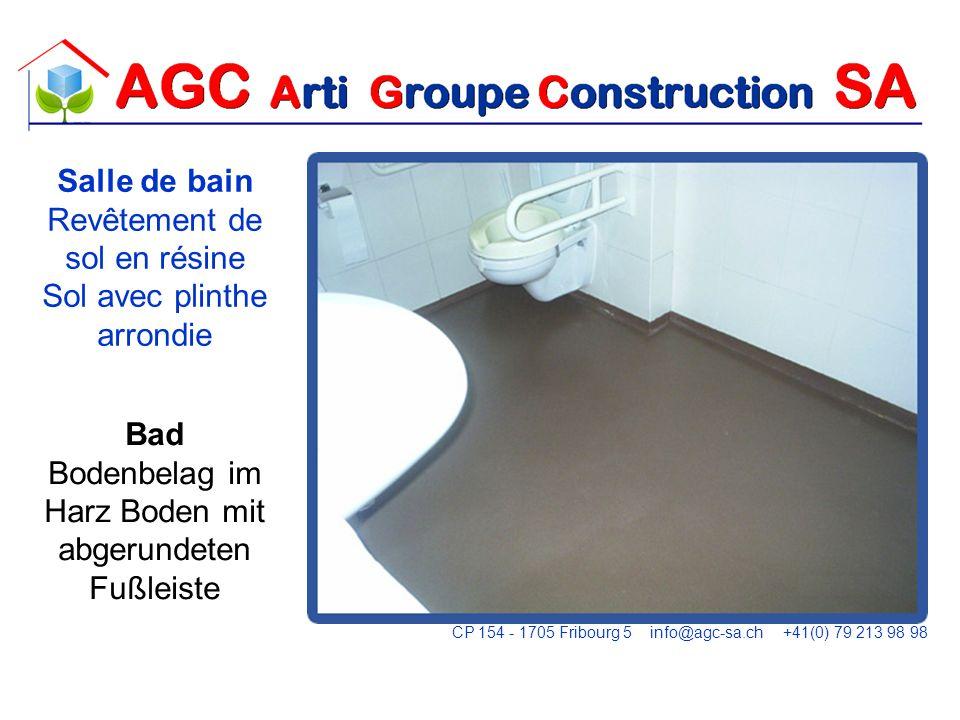 Salle de bain Revêtement de sol en résine Sol avec plinthe arrondie