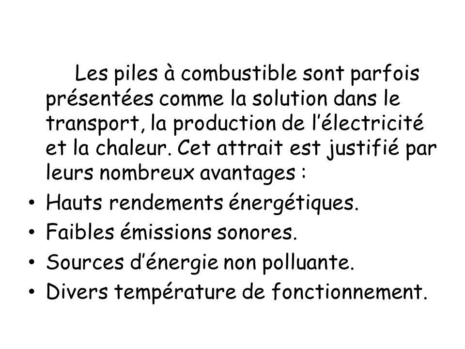 Les piles à combustible sont parfois présentées comme la solution dans le transport, la production de l'électricité et la chaleur. Cet attrait est justifié par leurs nombreux avantages :