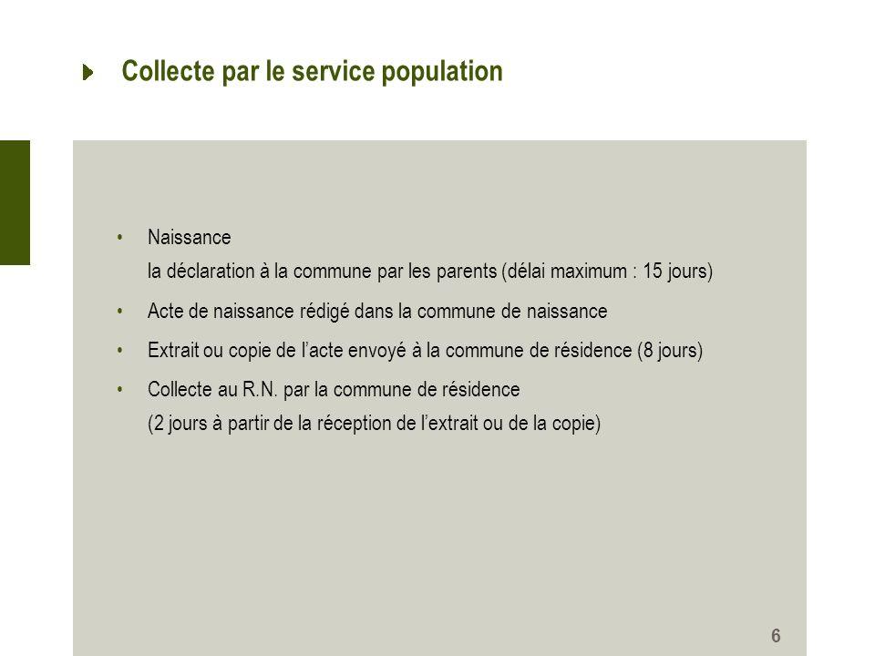 Collecte par le service population