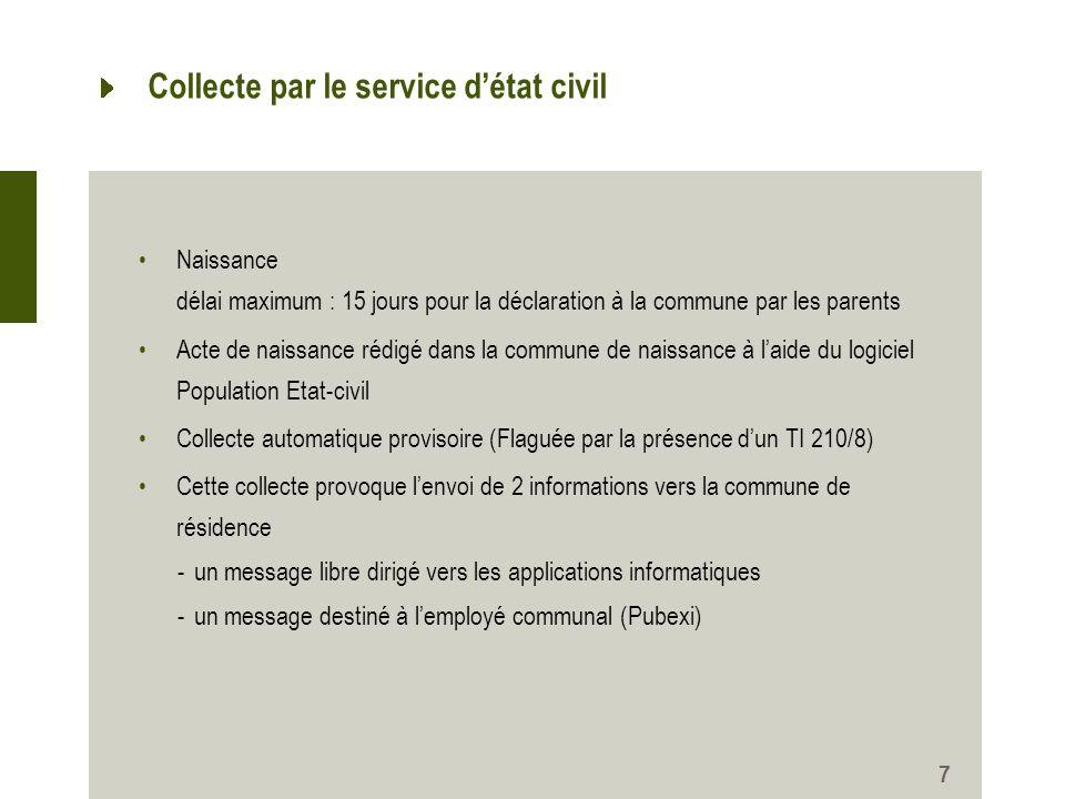 Collecte par le service d'état civil