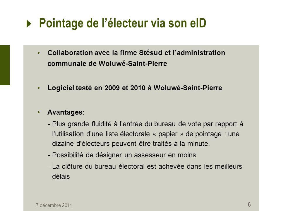 Pointage de l'électeur via son eID