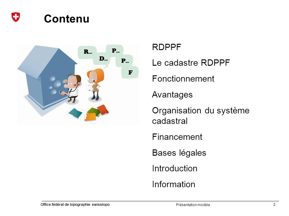 Contenu RDPPF Le cadastre RDPPF Fonctionnement Avantages
