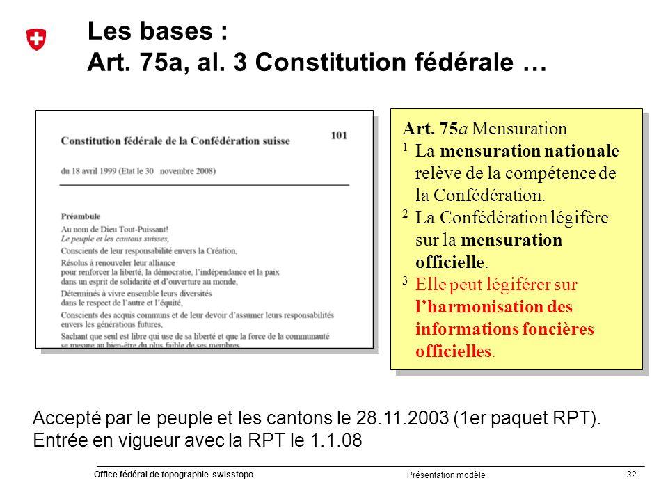 Art. 75a, al. 3 Constitution fédérale …
