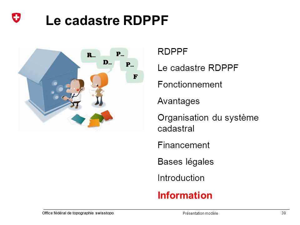 Le cadastre RDPPF Information RDPPF Le cadastre RDPPF Fonctionnement