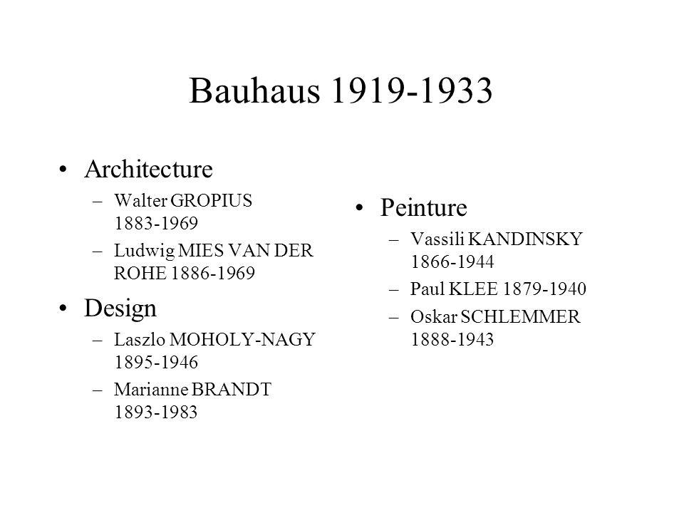 Bauhaus 1919-1933 Architecture Peinture Design