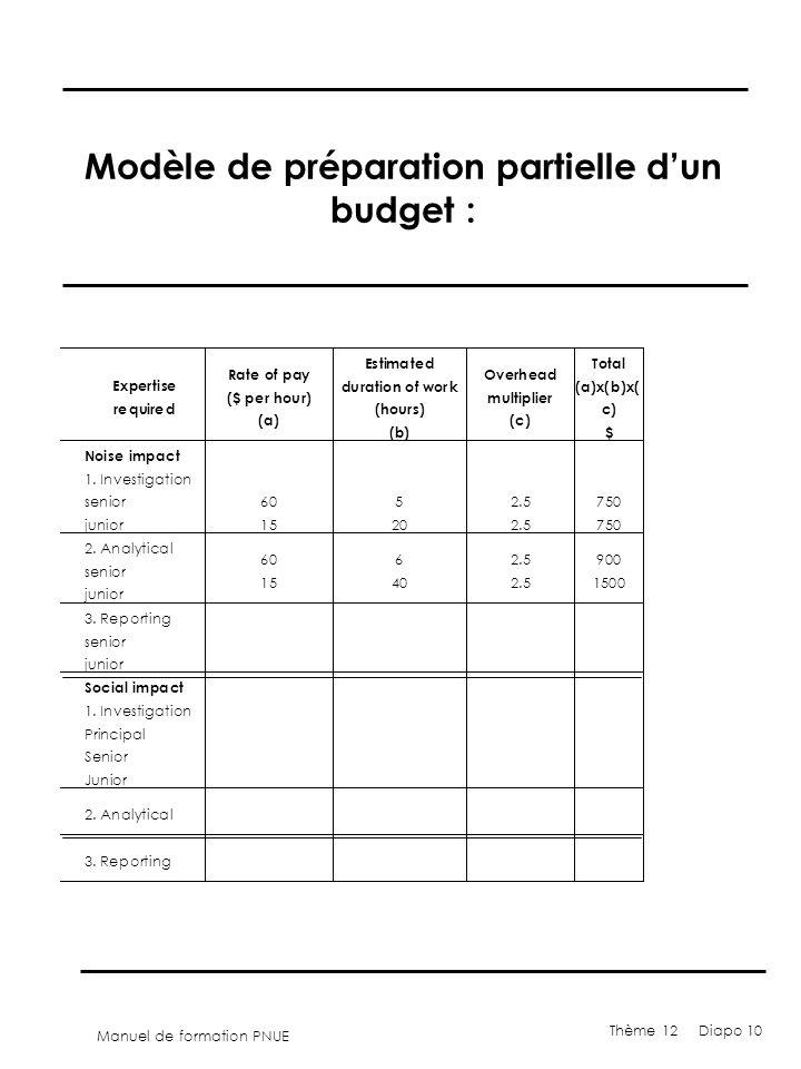 Modèle de préparation partielle d'un budget :