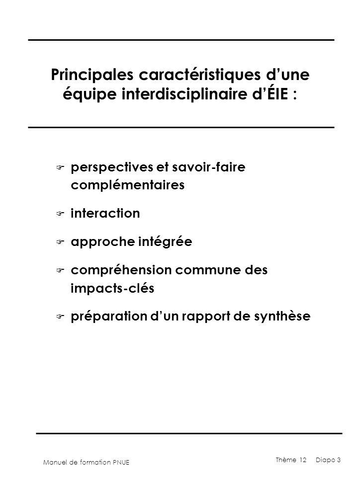 Principales caractéristiques d'une équipe interdisciplinaire d'ÉIE :