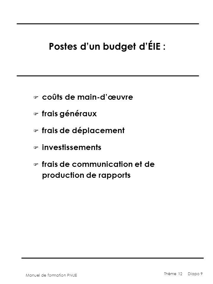 Postes d'un budget d'ÉIE :
