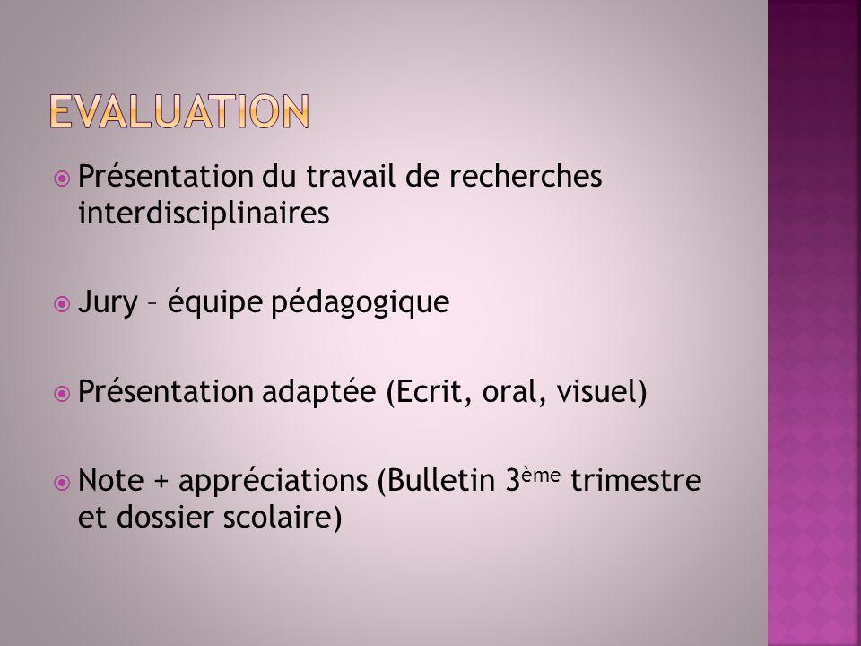 Evaluation Présentation du travail de recherches interdisciplinaires