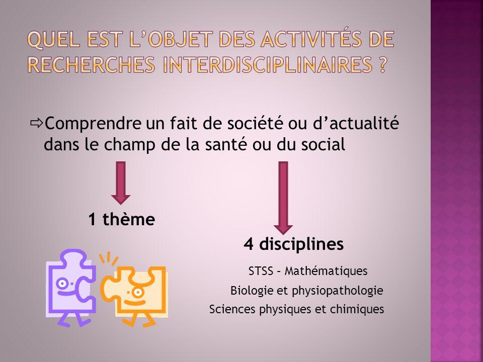 Quel est l'objet des activités de recherches interdisciplinaires