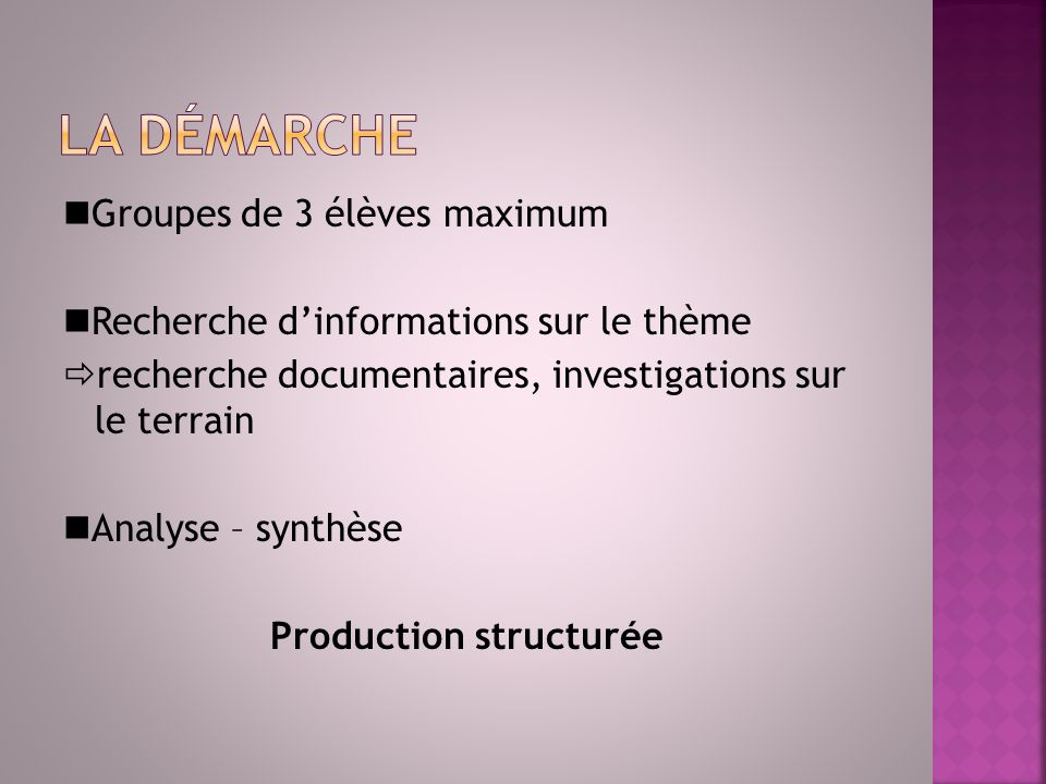 Production structurée