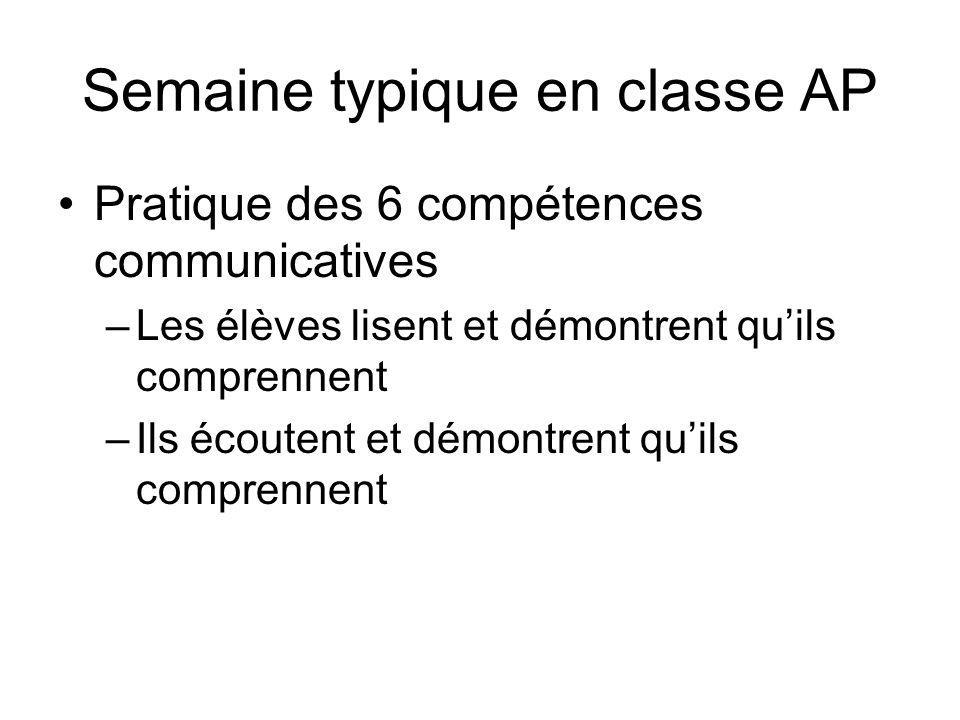 Semaine typique en classe AP