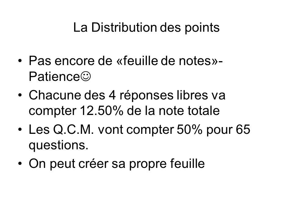 La Distribution des points
