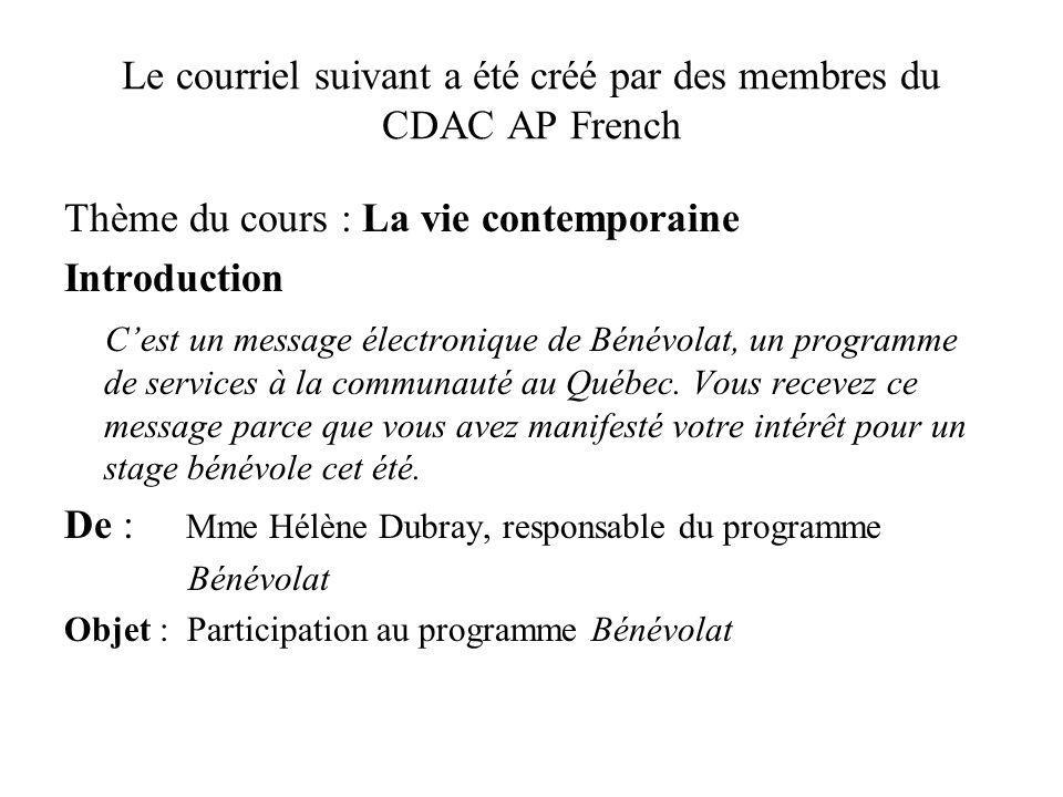 Le courriel suivant a été créé par des membres du CDAC AP French