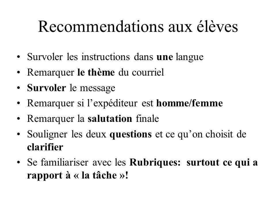 Recommendations aux élèves