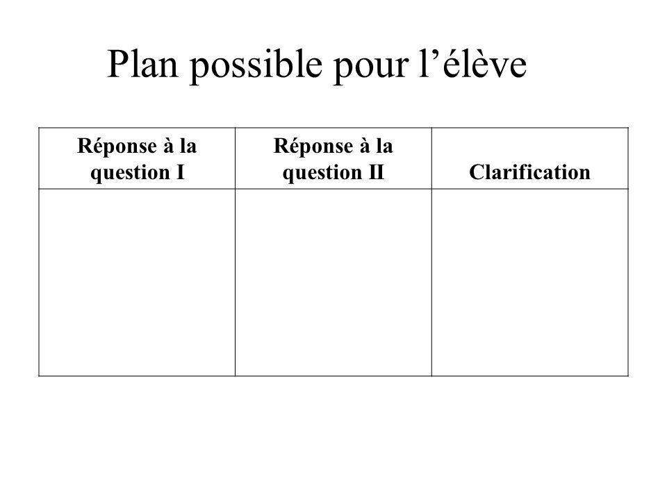 Plan possible pour l'élève