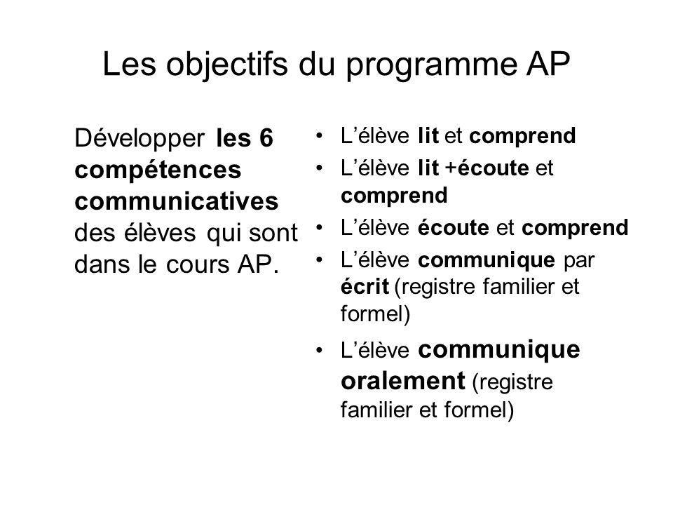 Les objectifs du programme AP