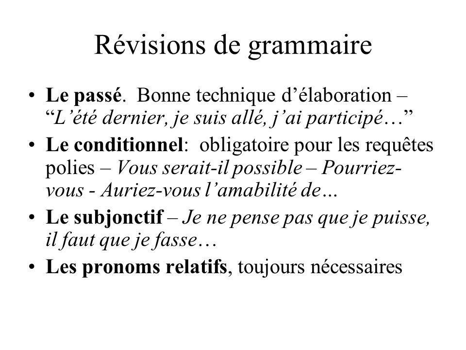 Révisions de grammaire