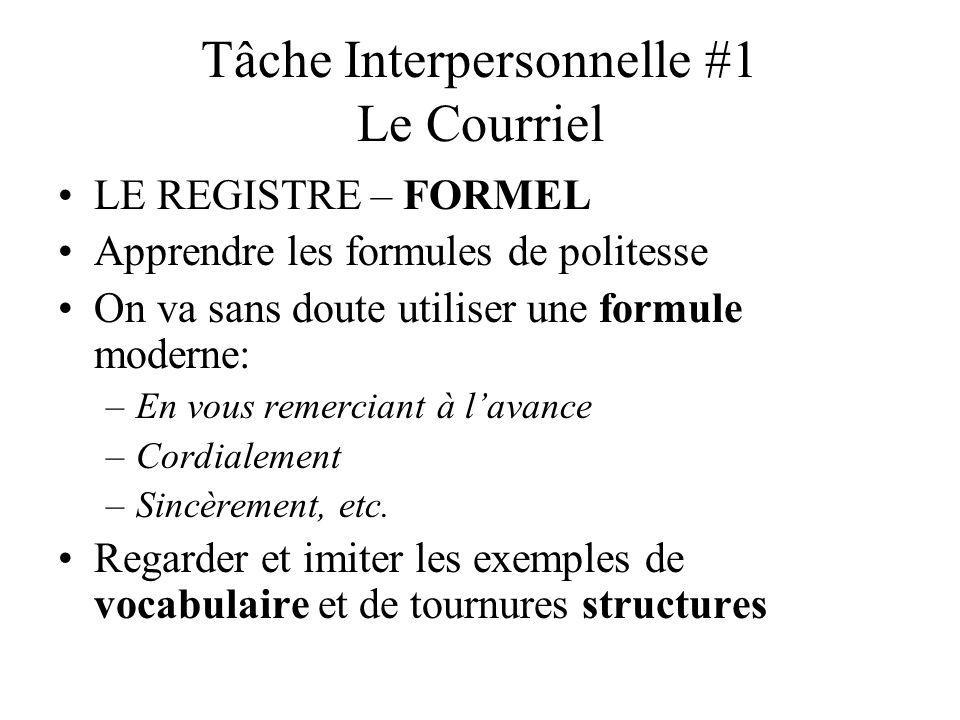 Tâche Interpersonnelle #1 Le Courriel