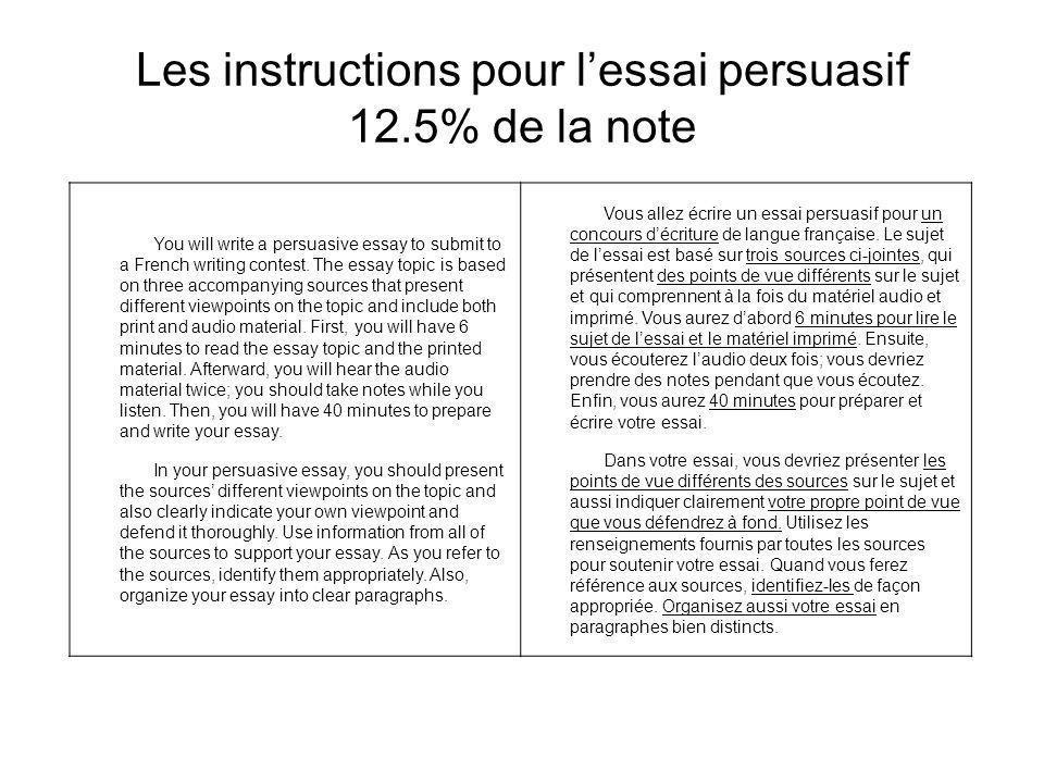 Les instructions pour l'essai persuasif 12.5% de la note