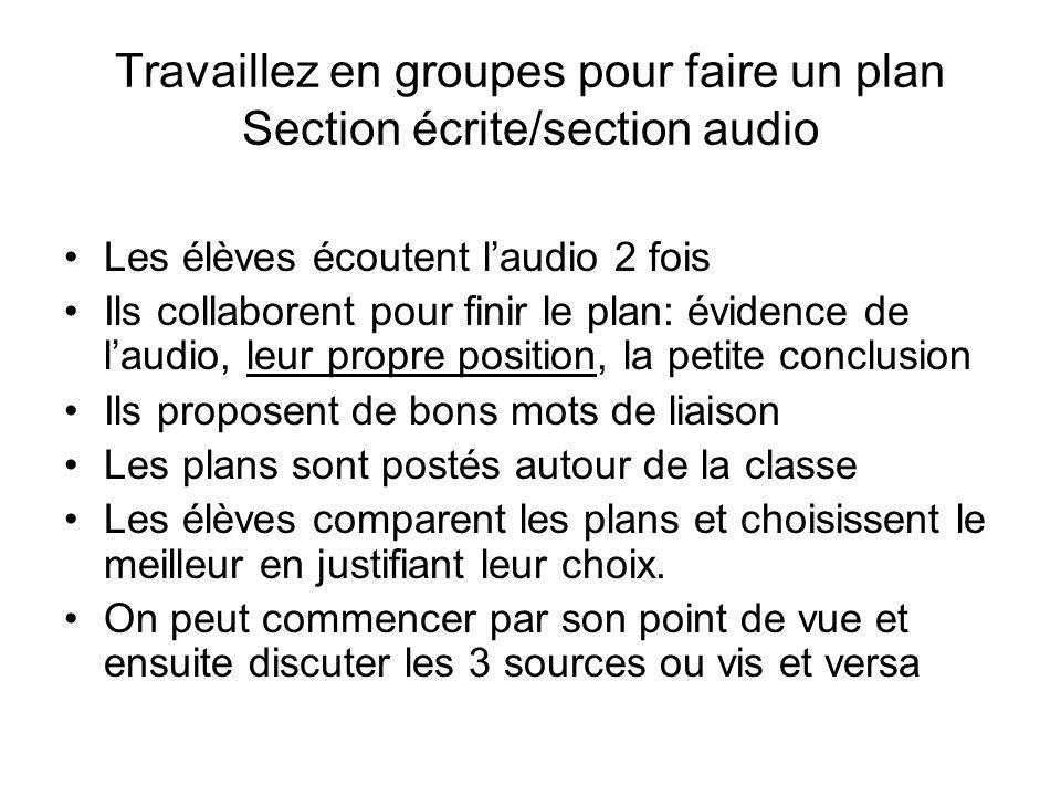 Travaillez en groupes pour faire un plan Section écrite/section audio