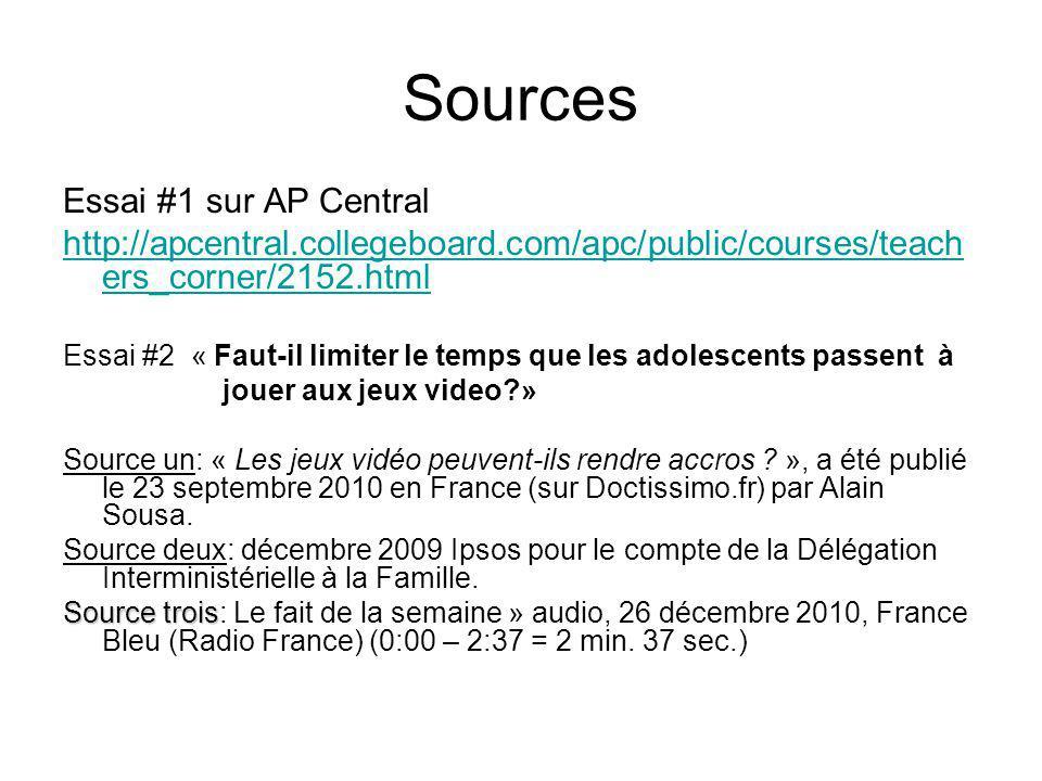 Sources Essai #1 sur AP Central