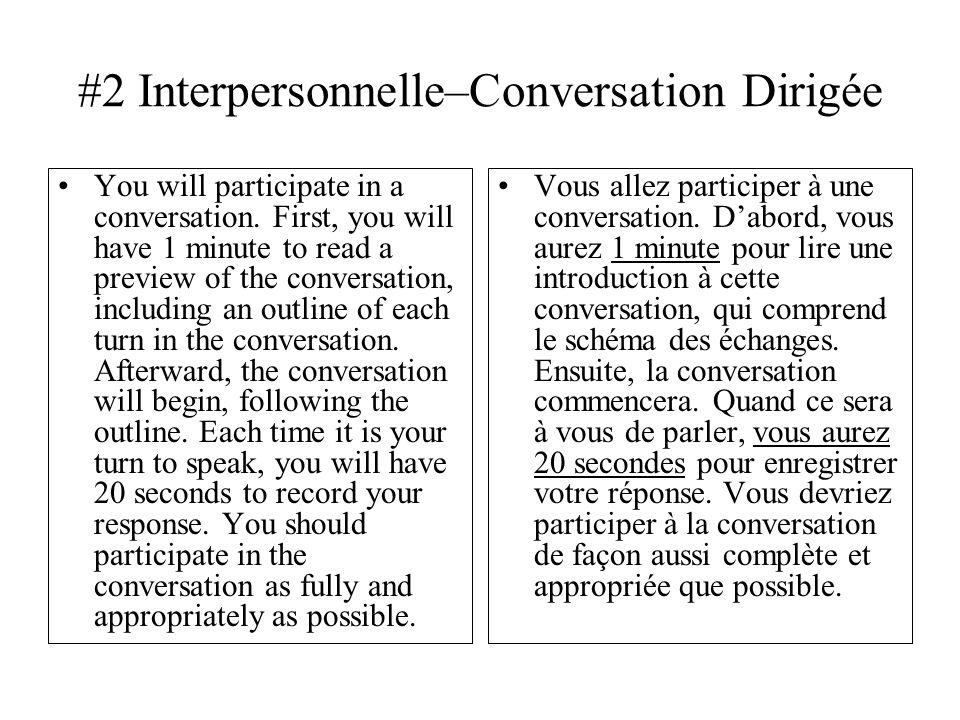 #2 Interpersonnelle–Conversation Dirigée