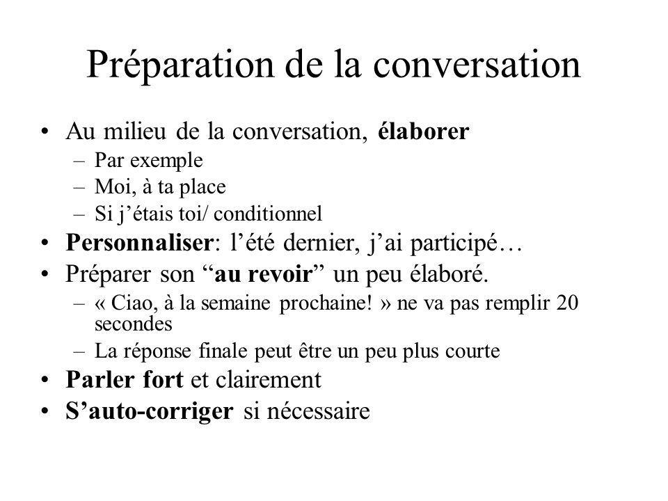 Préparation de la conversation