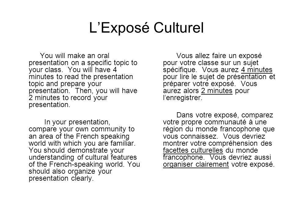 L'Exposé Culturel