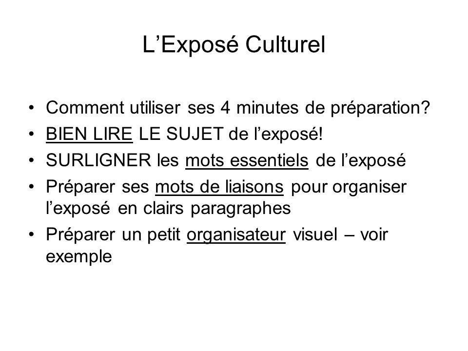 L'Exposé Culturel Comment utiliser ses 4 minutes de préparation
