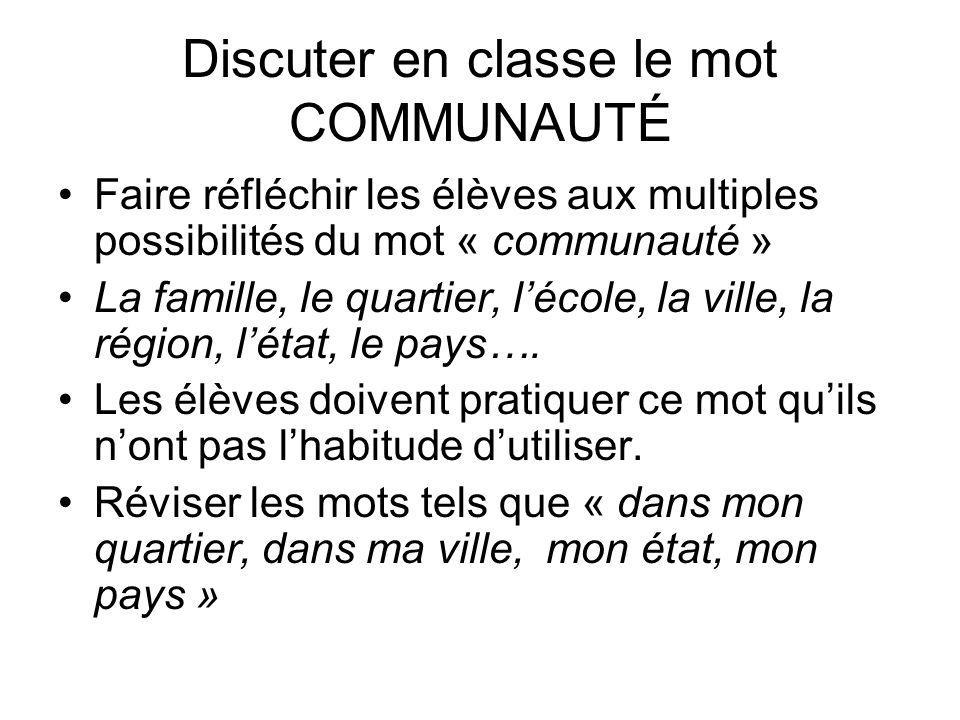 Discuter en classe le mot COMMUNAUTÉ