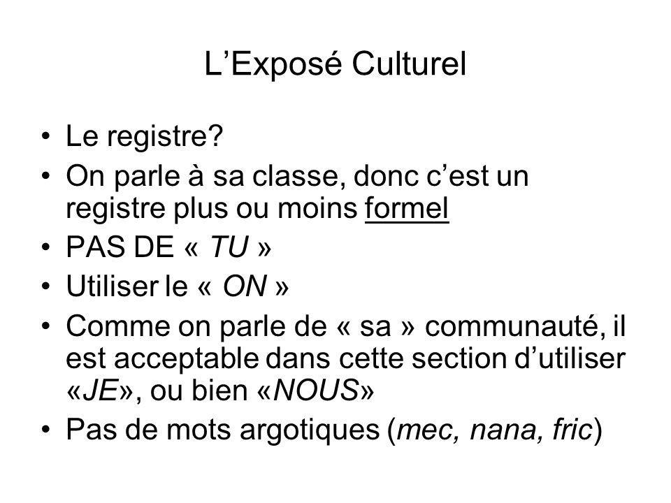L'Exposé Culturel Le registre