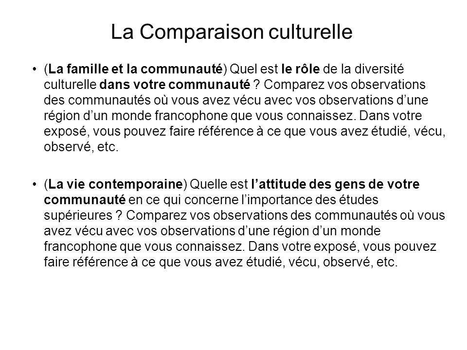 La Comparaison culturelle
