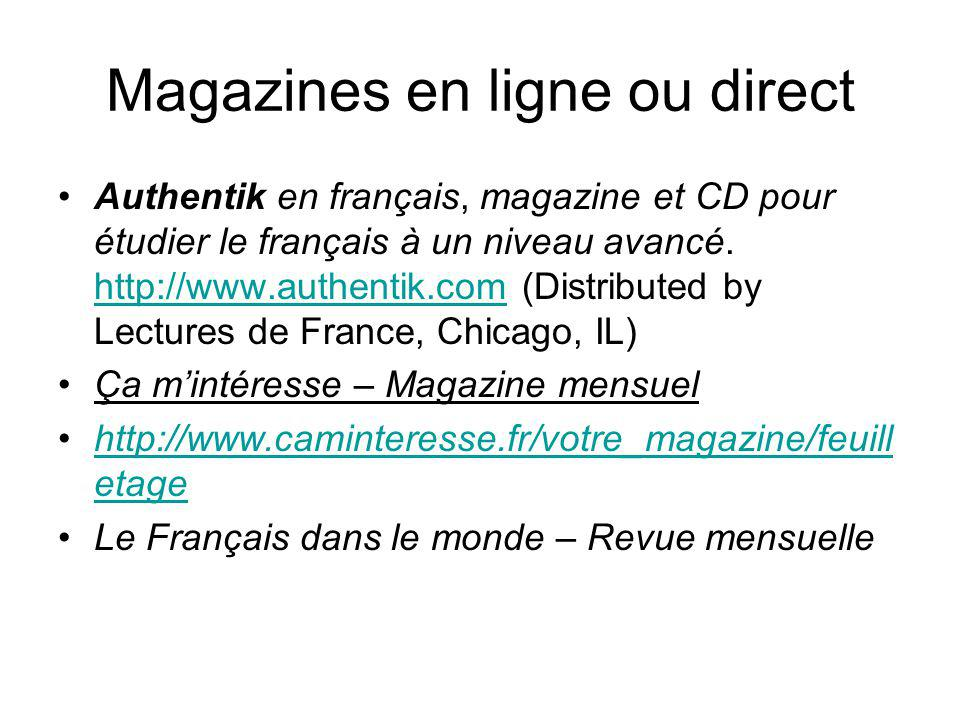 Magazines en ligne ou direct