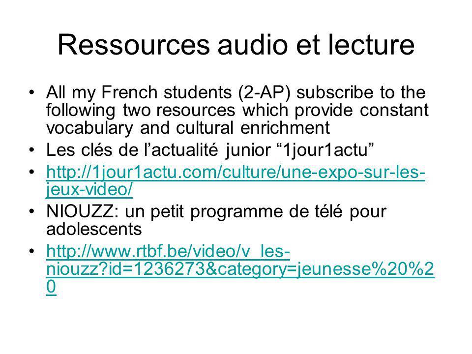 Ressources audio et lecture