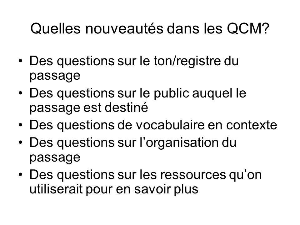 Quelles nouveautés dans les QCM