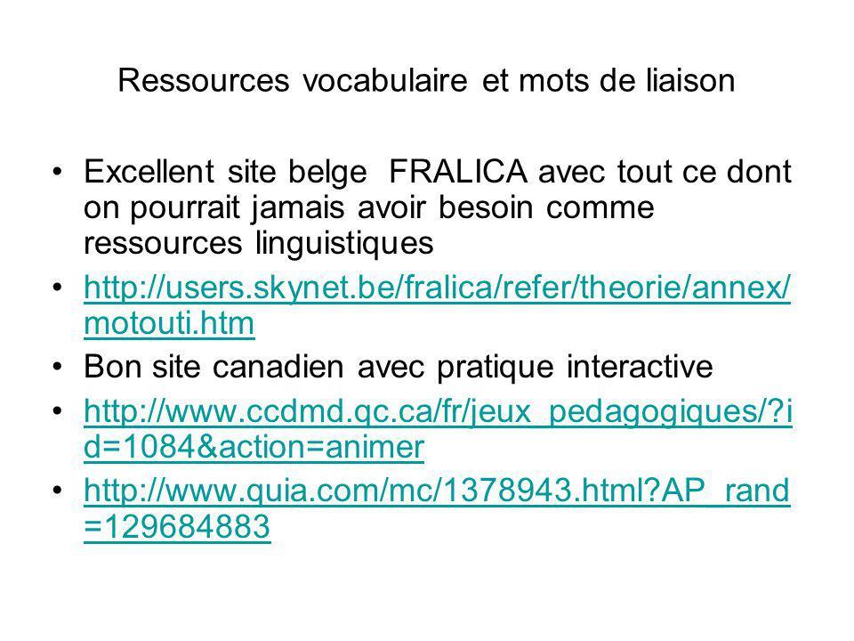 Ressources vocabulaire et mots de liaison
