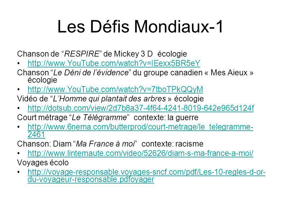 Les Défis Mondiaux-1 Chanson de RESPIRE de Mickey 3 D écologie