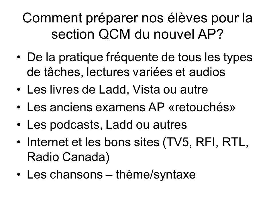 Comment préparer nos élèves pour la section QCM du nouvel AP