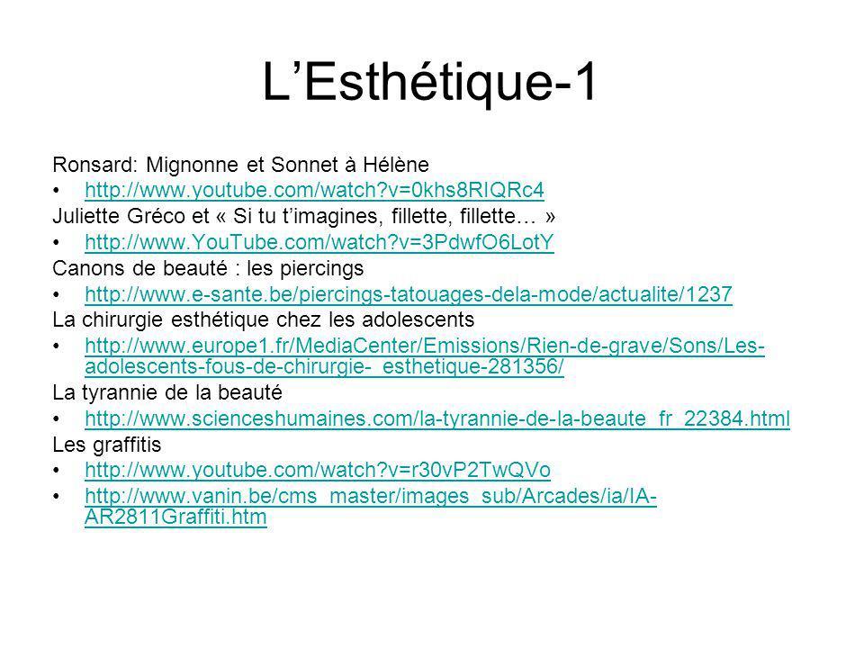 L'Esthétique-1 Ronsard: Mignonne et Sonnet à Hélène