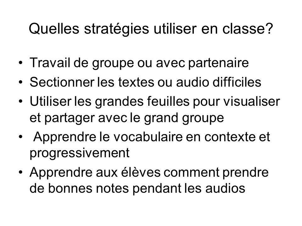 Quelles stratégies utiliser en classe